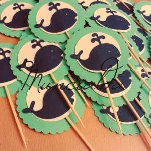"alt=""cupcake-topper-baby-whale-balena-tiffany-decorazioni"""