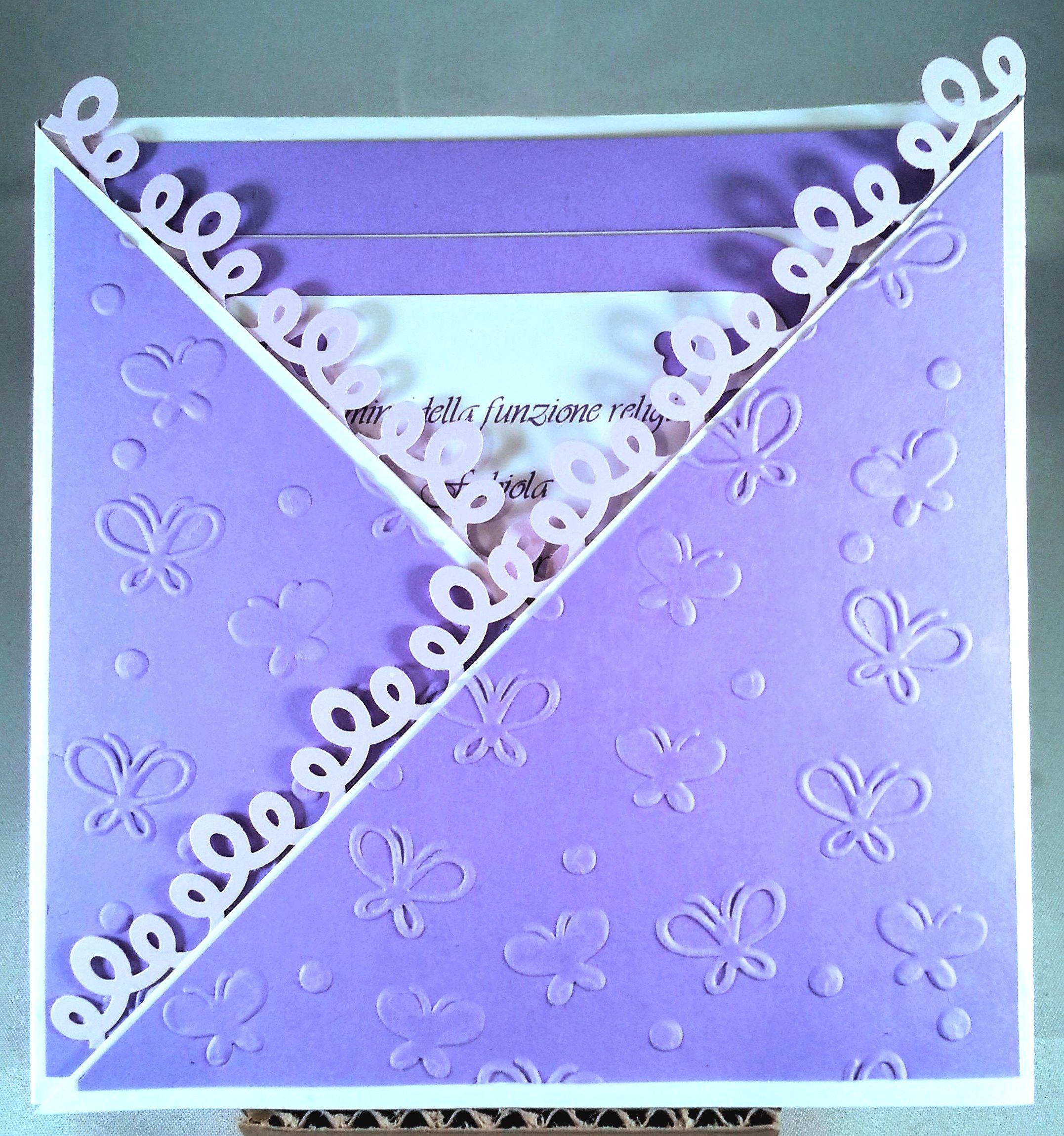 Partecipazioni Comunione: farfalle in lilla e rosa